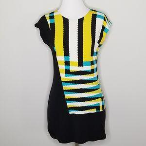 Eva Varro Asymmetrical Stripe Print Top S